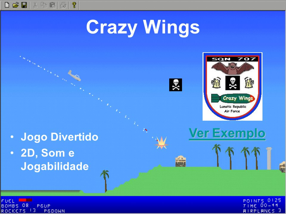 Crazy Wings Ver Exemplo Jogo Divertido 2D, Som e Jogabilidade