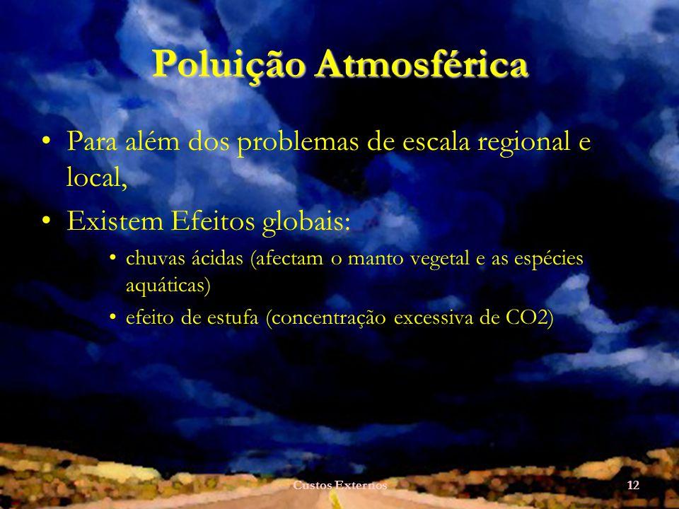 Poluição Atmosférica Para além dos problemas de escala regional e local, Existem Efeitos globais:
