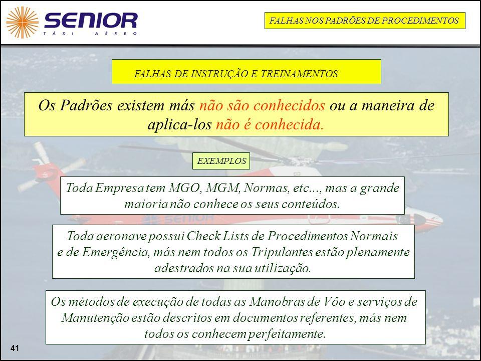 FALHAS DE INSTRUÇÃO E TREINAMENTOS