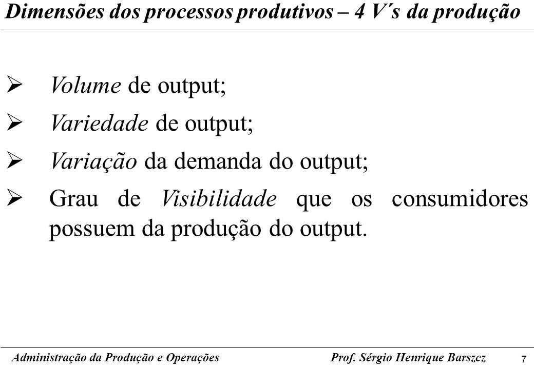 Variação da demanda do output;