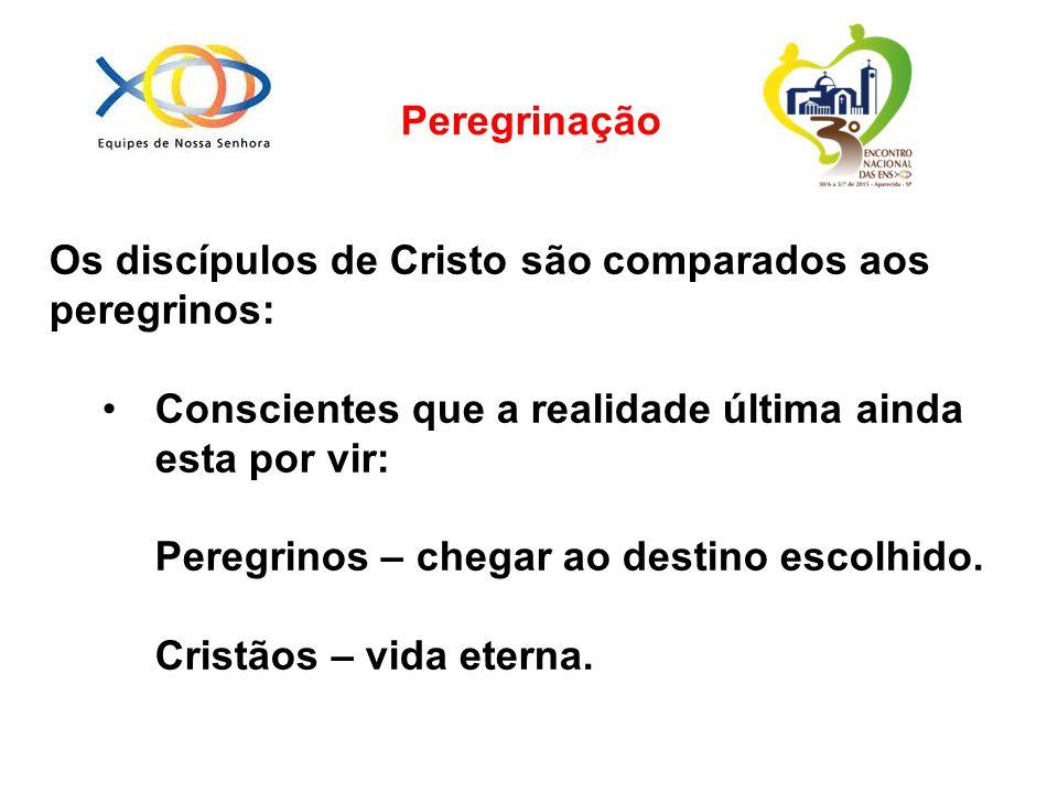 Peregrinação Os discípulos de Cristo são comparados aos peregrinos: Conscientes que a realidade última ainda esta por vir: