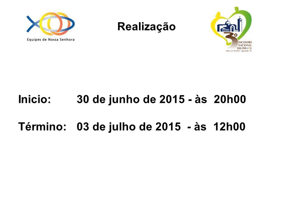 Realização Inicio: 30 de junho de 2015 - às 20h00 Término: 03 de julho de 2015 - às 12h00
