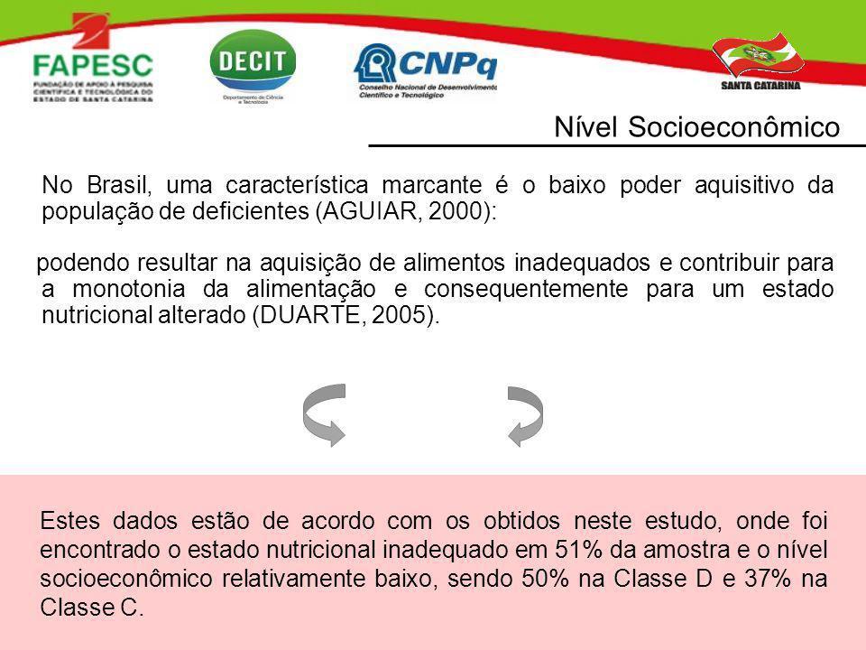 Nível Socioeconômico No Brasil, uma característica marcante é o baixo poder aquisitivo da população de deficientes (AGUIAR, 2000):