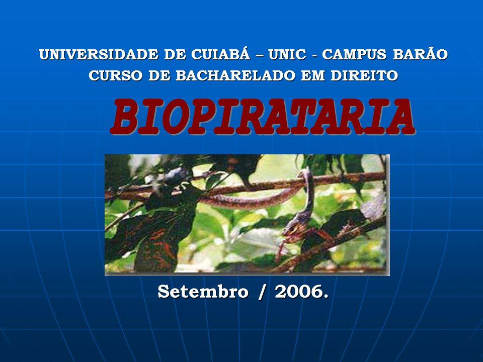BIOPIRATARIA Cuiabá - MT Setembro / 2006.