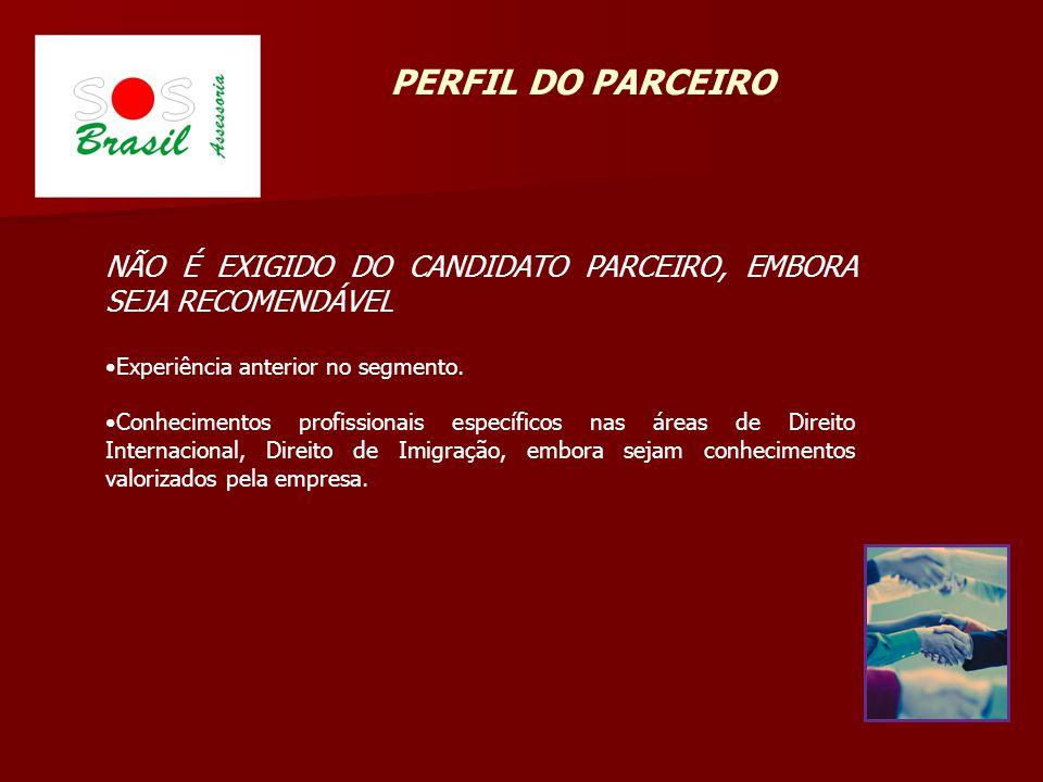 PERFIL DO PARCEIRO NÃO É EXIGIDO DO CANDIDATO PARCEIRO, EMBORA SEJA RECOMENDÁVEL. Experiência anterior no segmento.