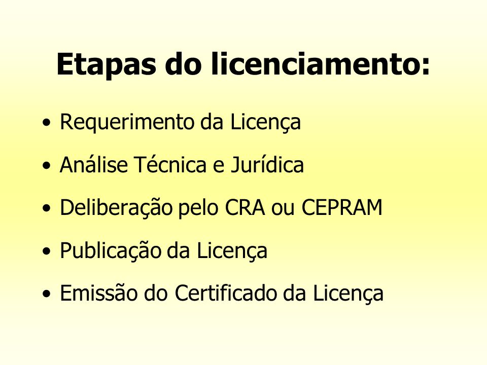 Etapas do licenciamento: