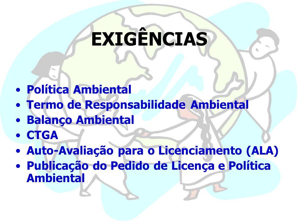 EXIGÊNCIAS Política Ambiental Termo de Responsabilidade Ambiental