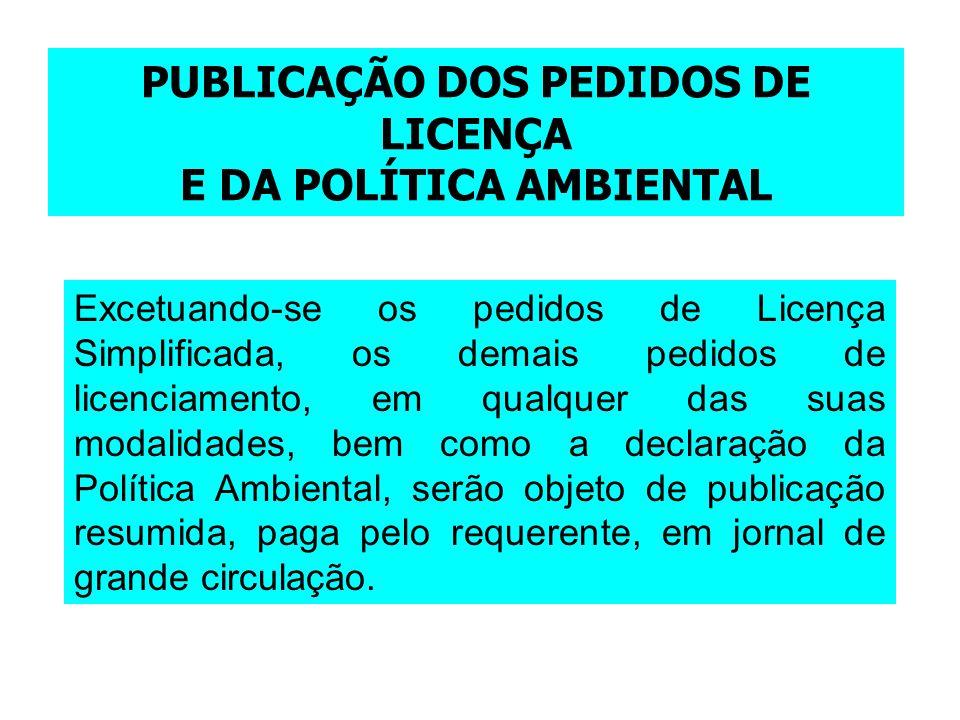 PUBLICAÇÃO DOS PEDIDOS DE LICENÇA E DA POLÍTICA AMBIENTAL