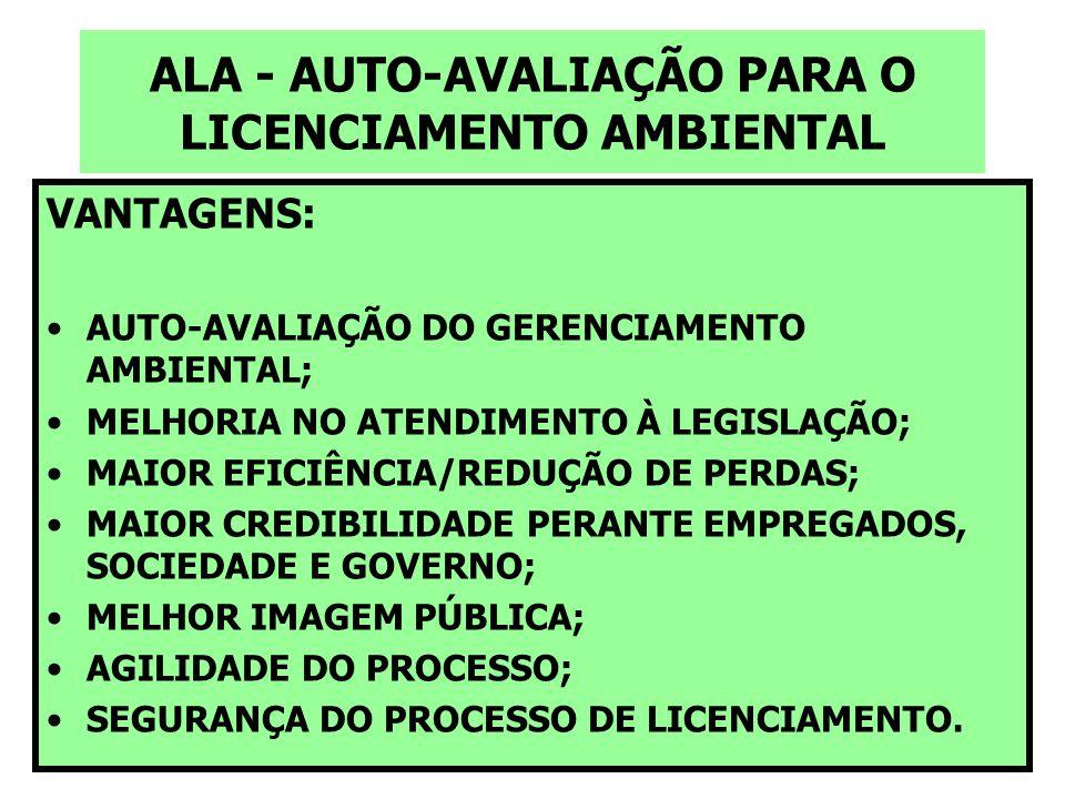 ALA - AUTO-AVALIAÇÃO PARA O LICENCIAMENTO AMBIENTAL