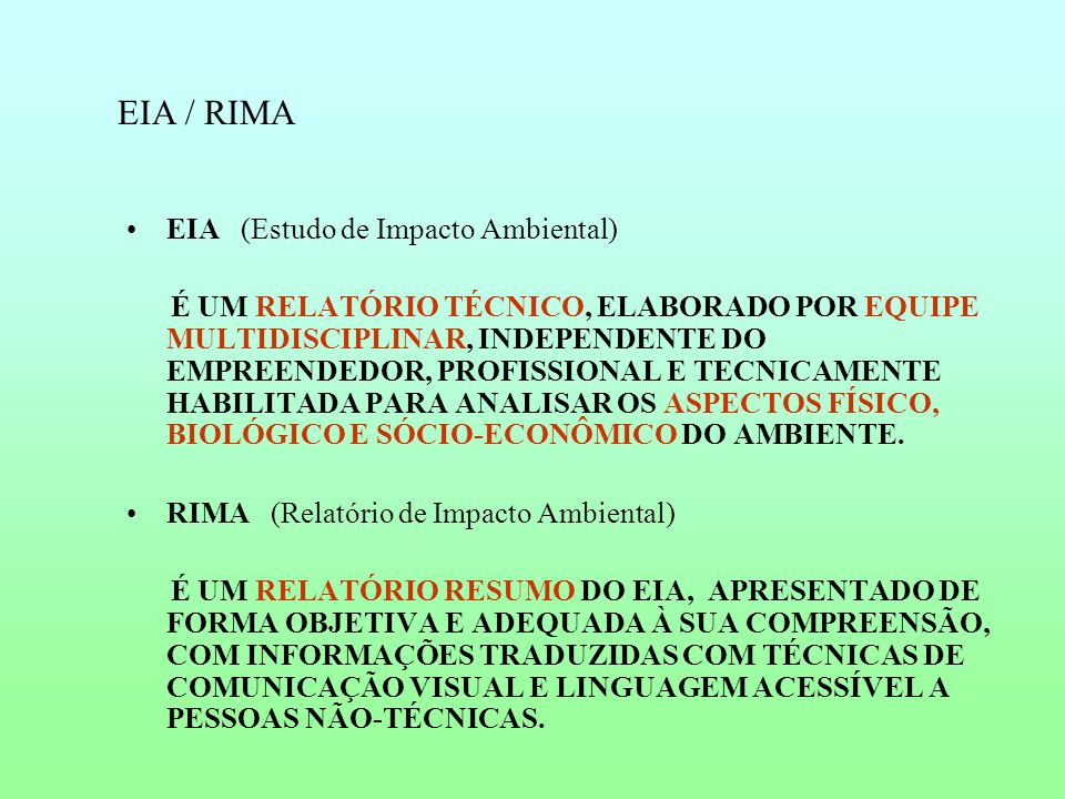 EIA / RIMA EIA (Estudo de Impacto Ambiental)