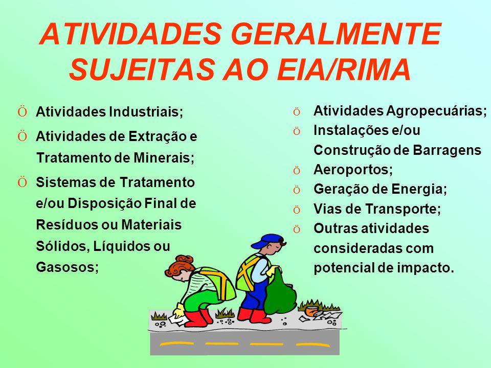 ATIVIDADES GERALMENTE SUJEITAS AO EIA/RIMA