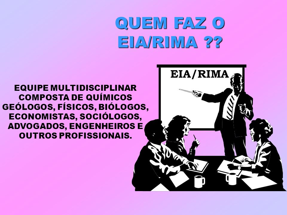 QUEM FAZ O EIA/RIMA EIA/RIMA