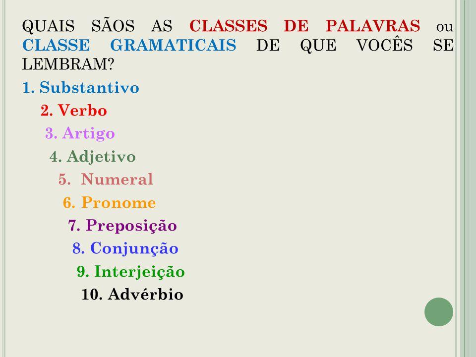 QUAIS SÃOS AS CLASSES DE PALAVRAS ou CLASSE GRAMATICAIS DE QUE VOCÊS SE LEMBRAM.