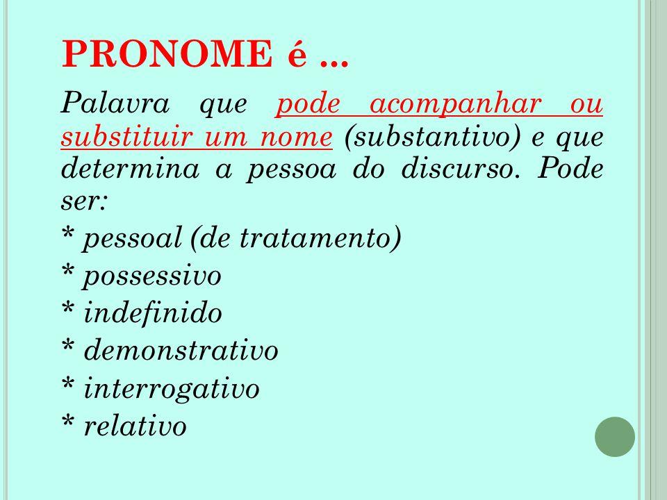 PRONOME é ... Palavra que pode acompanhar ou substituir um nome (substantivo) e que determina a pessoa do discurso. Pode ser: