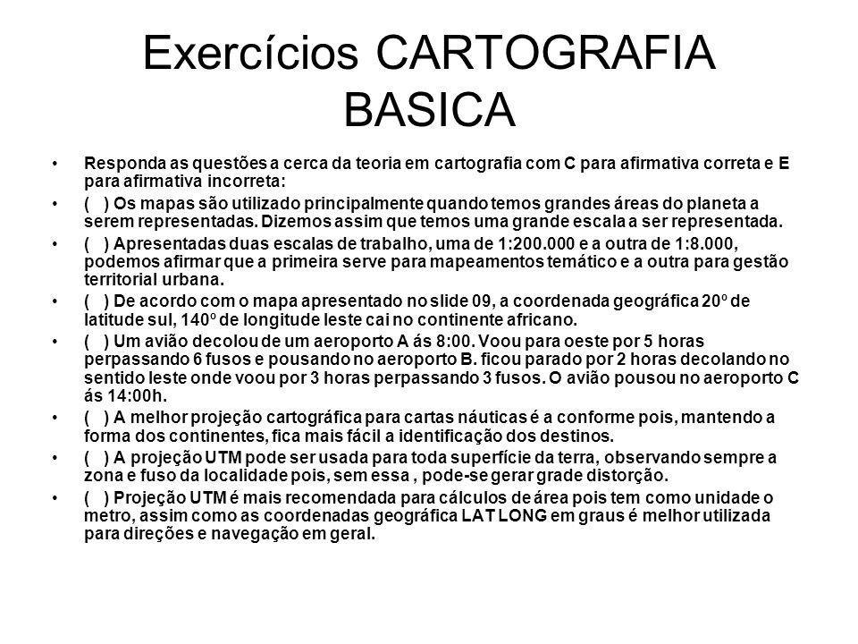 Exercícios CARTOGRAFIA BASICA