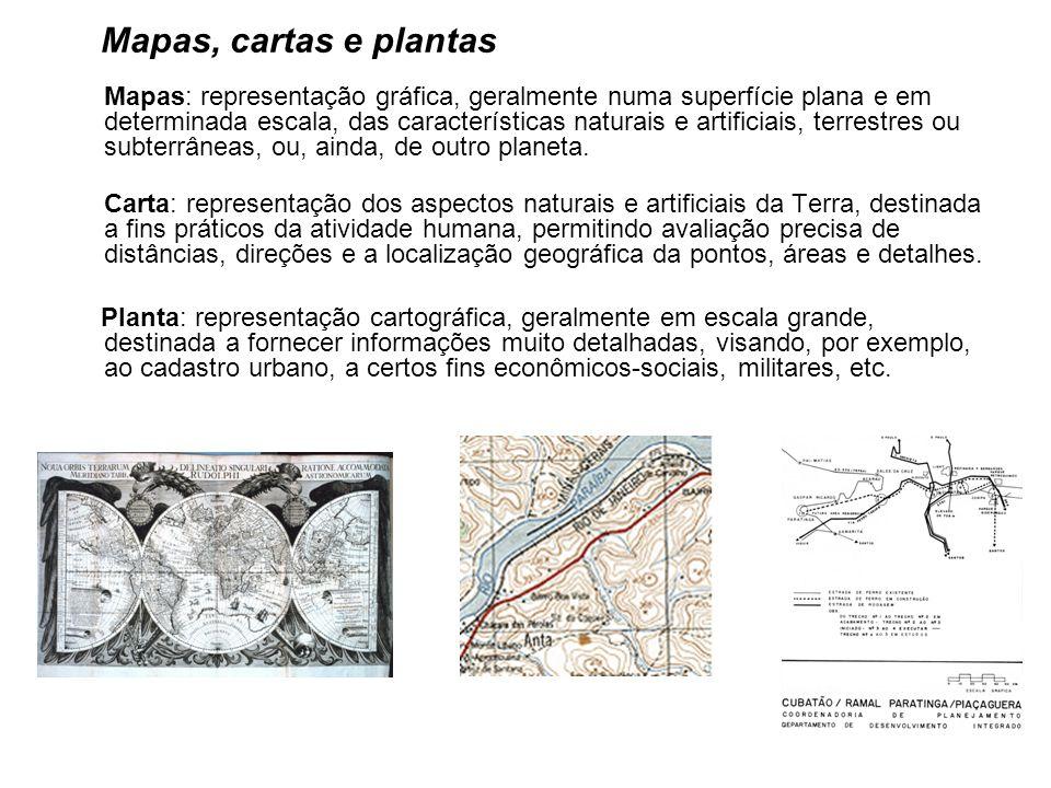 Mapas, cartas e plantas Mapas: representação gráfica, geralmente numa superfície plana e em determinada escala, das características naturais e artificiais, terrestres ou subterrâneas, ou, ainda, de outro planeta.
