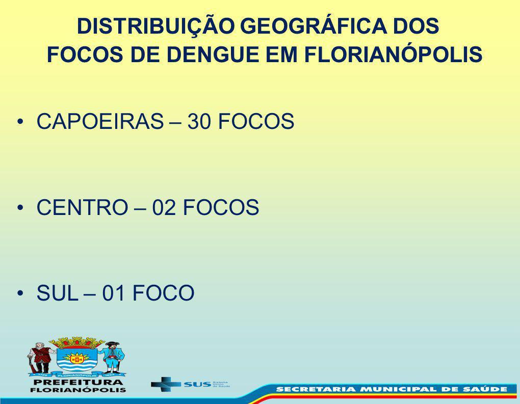 DISTRIBUIÇÃO GEOGRÁFICA DOS FOCOS DE DENGUE EM FLORIANÓPOLIS
