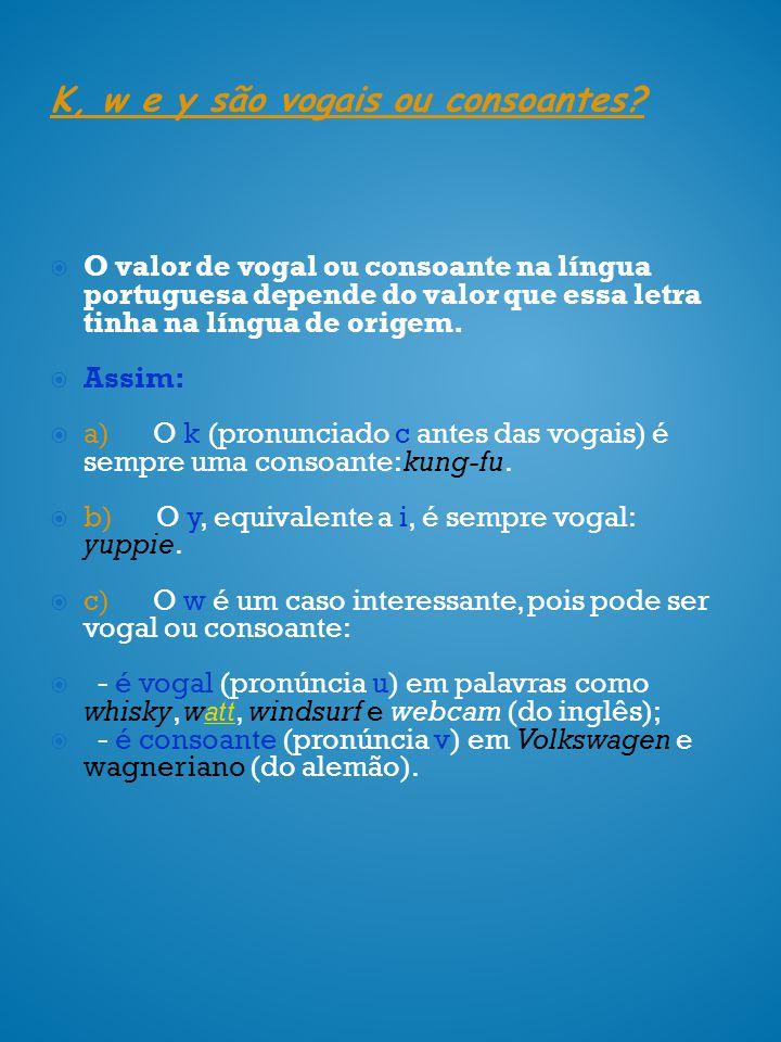 K, w e y são vogais ou consoantes