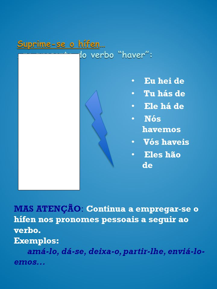 Suprime-se o hífen… …no presente do verbo haver :