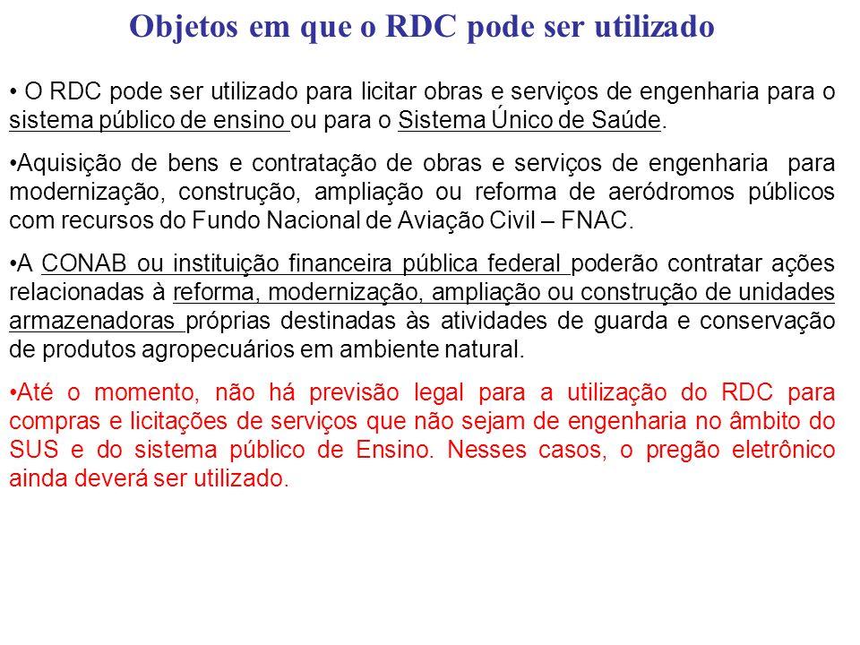 Objetos em que o RDC pode ser utilizado