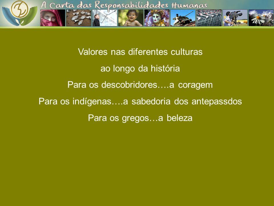 Valores nas diferentes culturas ao longo da história