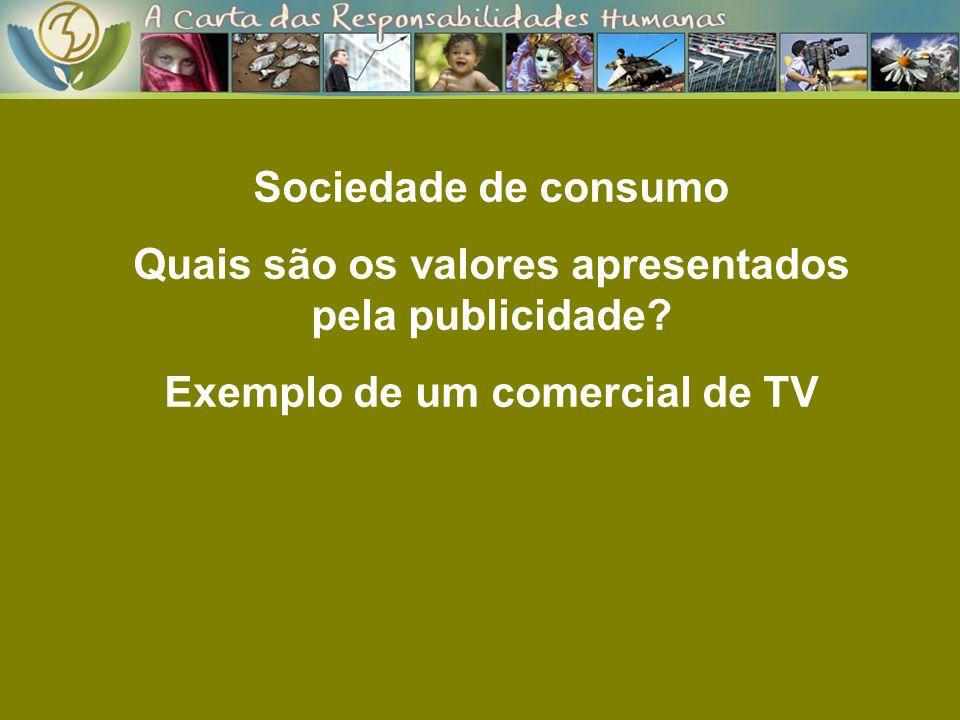 Quais são os valores apresentados pela publicidade