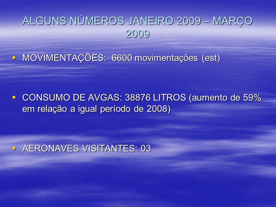 ALGUNS NÚMEROS JANEIRO 2009 – MARÇO 2009