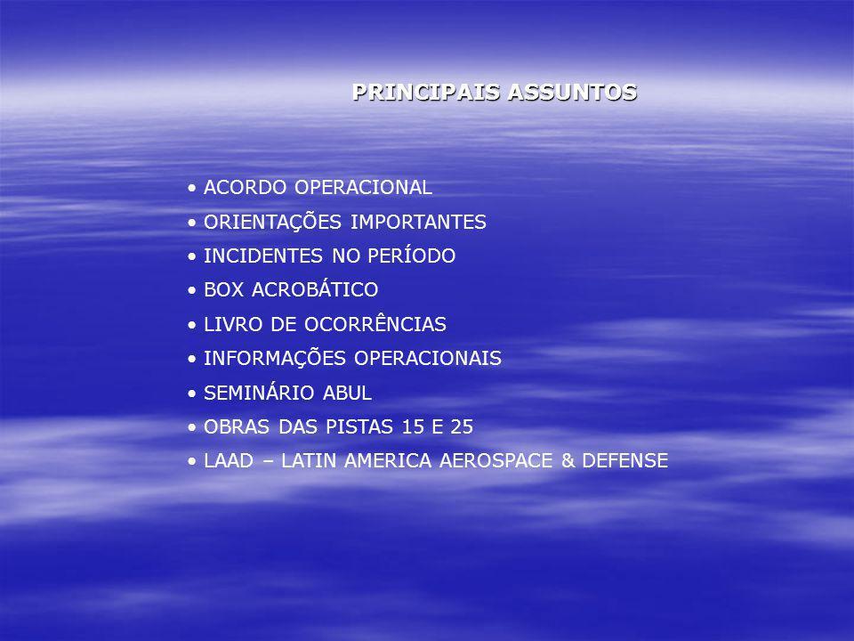 PRINCIPAIS ASSUNTOS ACORDO OPERACIONAL ORIENTAÇÕES IMPORTANTES