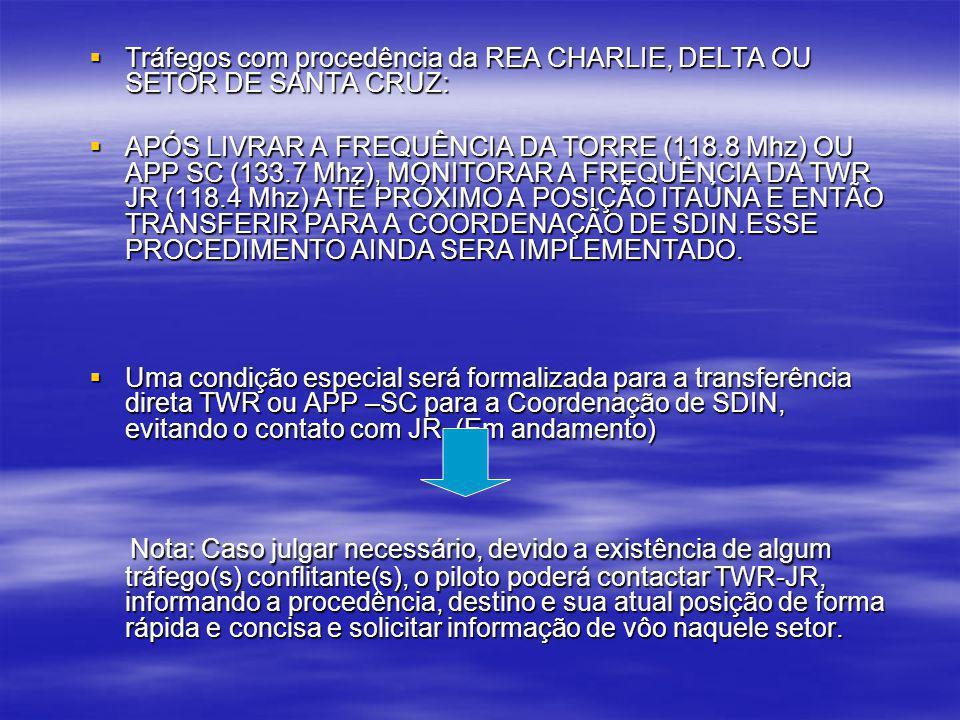 Tráfegos com procedência da REA CHARLIE, DELTA OU SETOR DE SANTA CRUZ: