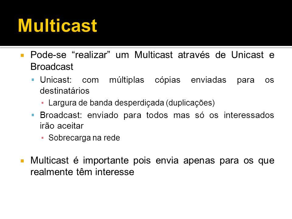 Multicast Pode-se realizar um Multicast através de Unicast e Broadcast. Unicast: com múltiplas cópias enviadas para os destinatários.