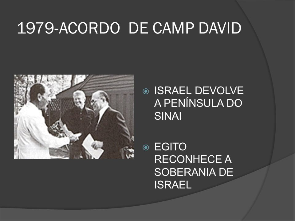 1979-ACORDO DE CAMP DAVID ISRAEL DEVOLVE A PENÍNSULA DO SINAI