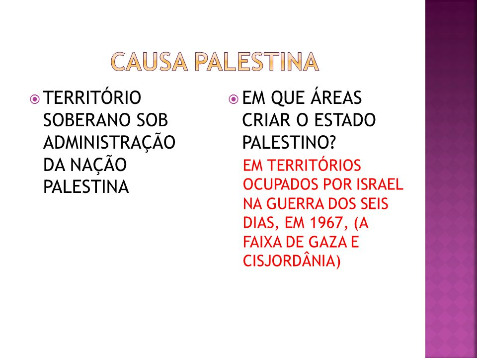 CAUSA PALESTINA TERRITÓRIO SOBERANO SOB ADMINISTRAÇÃO DA NAÇÃO PALESTINA. EM QUE ÁREAS CRIAR O ESTADO PALESTINO