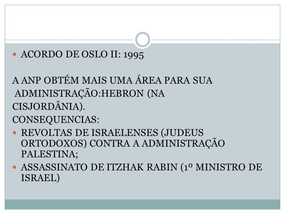 ACORDO DE OSLO II: 1995 A ANP OBTÉM MAIS UMA ÁREA PARA SUA. ADMINISTRAÇÃO:HEBRON (NA. CISJORDÂNIA).