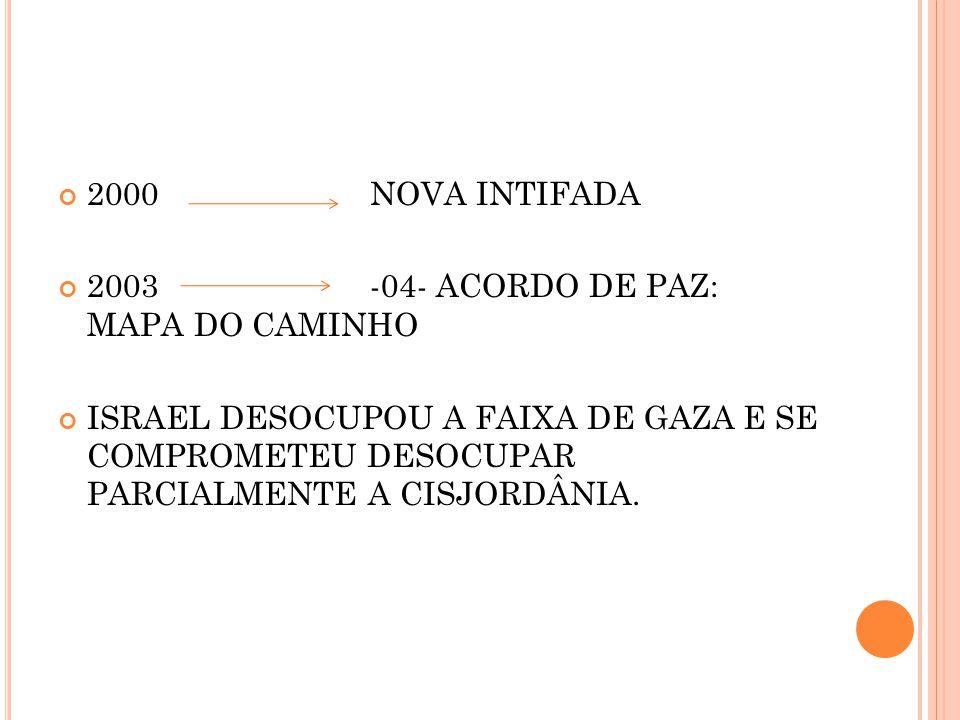 2000 NOVA INTIFADA 2003 -04- ACORDO DE PAZ: MAPA DO CAMINHO.