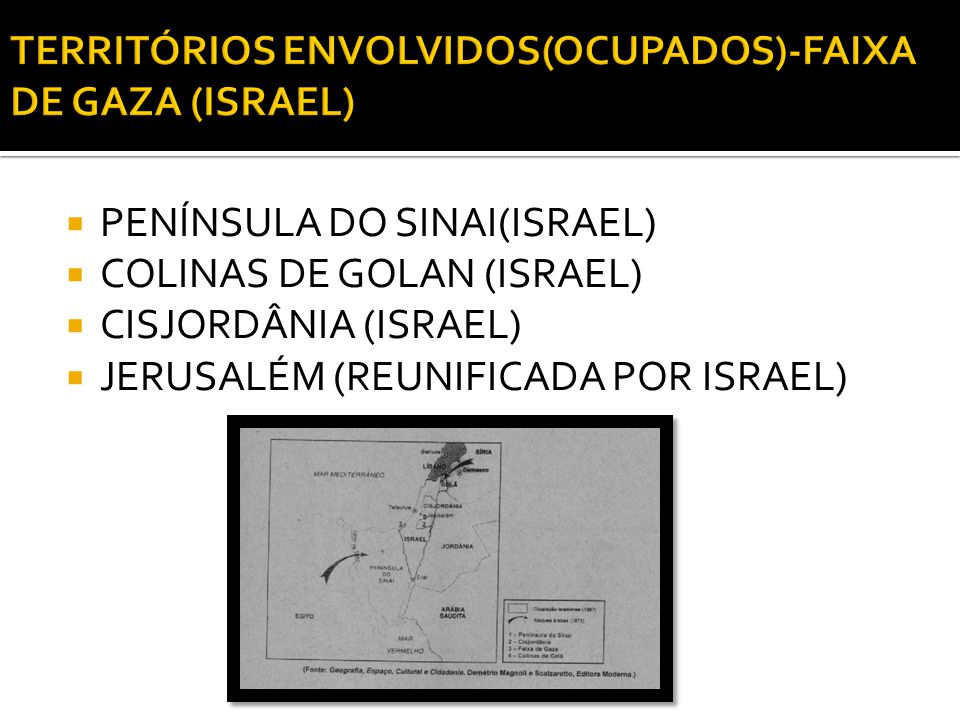 TERRITÓRIOS ENVOLVIDOS(OCUPADOS)-FAIXA DE GAZA (ISRAEL)