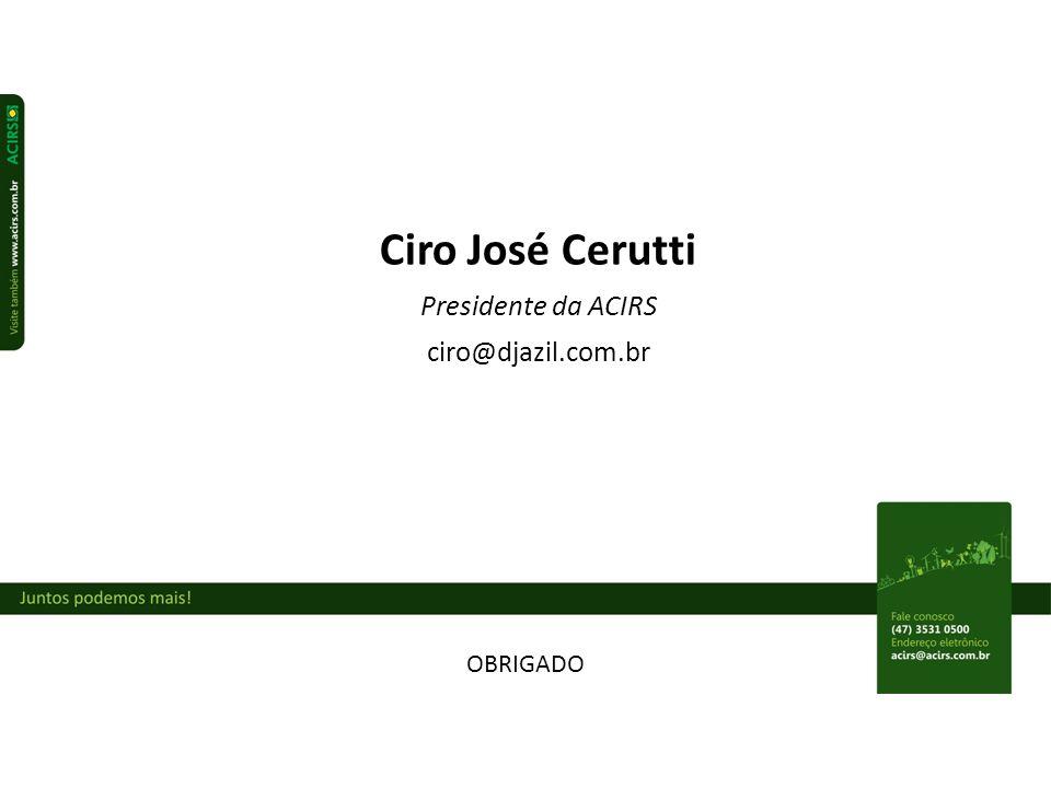 Ciro José Cerutti Presidente da ACIRS ciro@djazil.com.br OBRIGADO