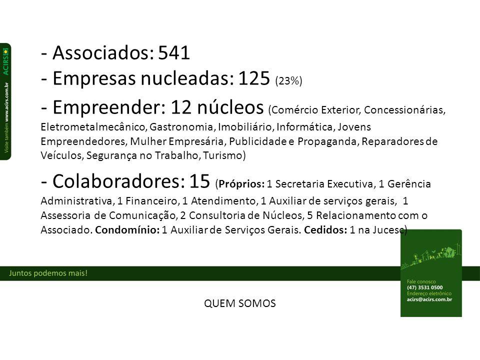 - Empresas nucleadas: 125 (23%)