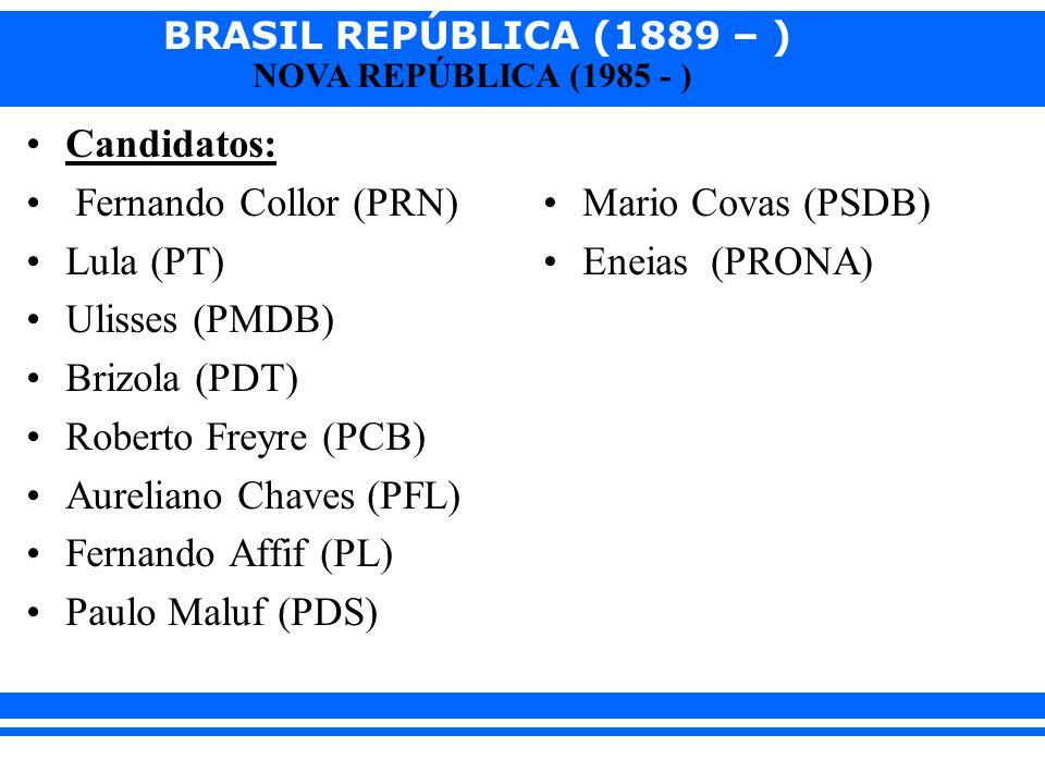 Candidatos: Fernando Collor (PRN) Lula (PT) Ulisses (PMDB) Brizola (PDT) Roberto Freyre (PCB) Aureliano Chaves (PFL)