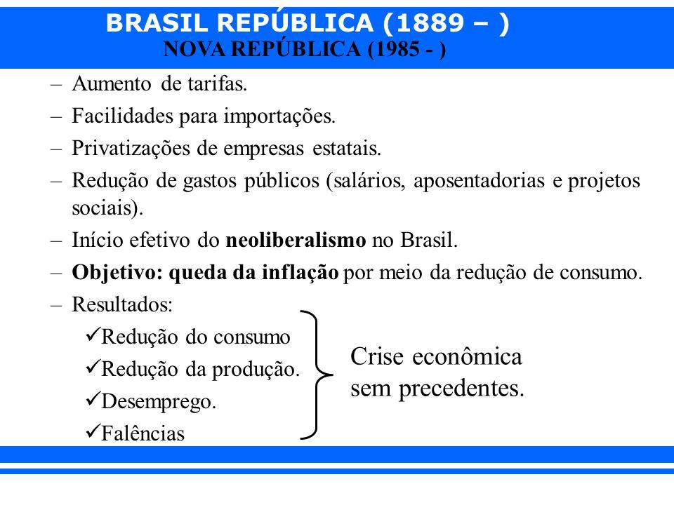 Facilidades para importações. Privatizações de empresas estatais.