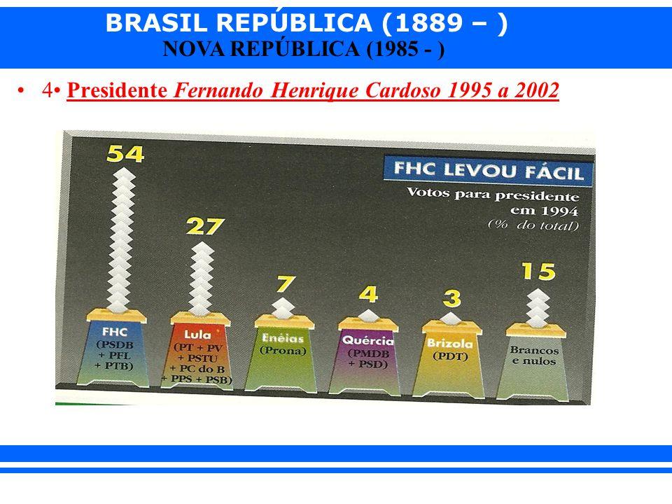 4• Presidente Fernando Henrique Cardoso 1995 a 2002