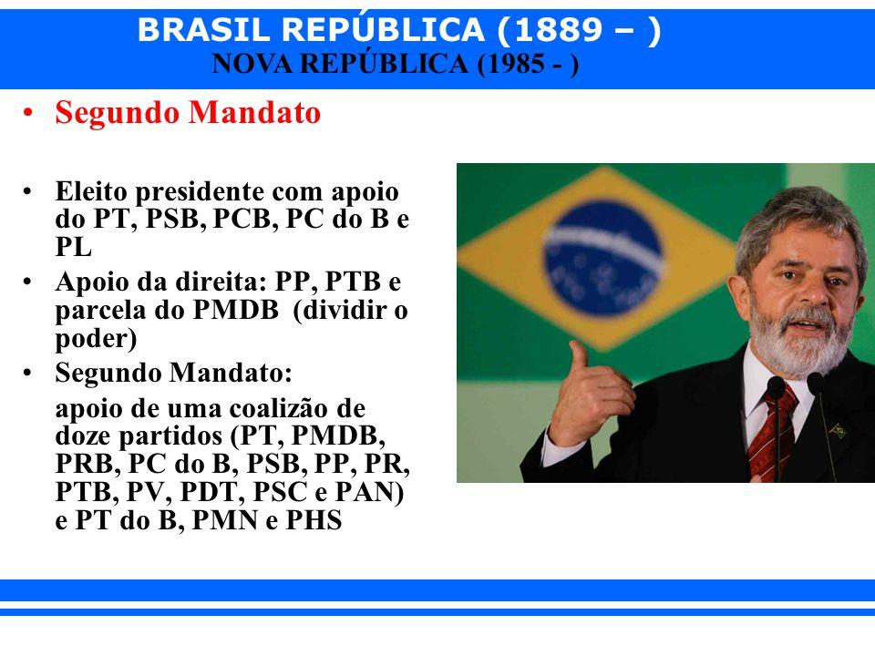 Segundo Mandato Eleito presidente com apoio do PT, PSB, PCB, PC do B e PL. Apoio da direita: PP, PTB e parcela do PMDB (dividir o poder)