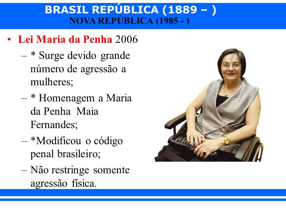 Lei Maria da Penha 2006 * Surge devido grande número de agressão a mulheres; * Homenagem a Maria da Penha Maia Fernandes;