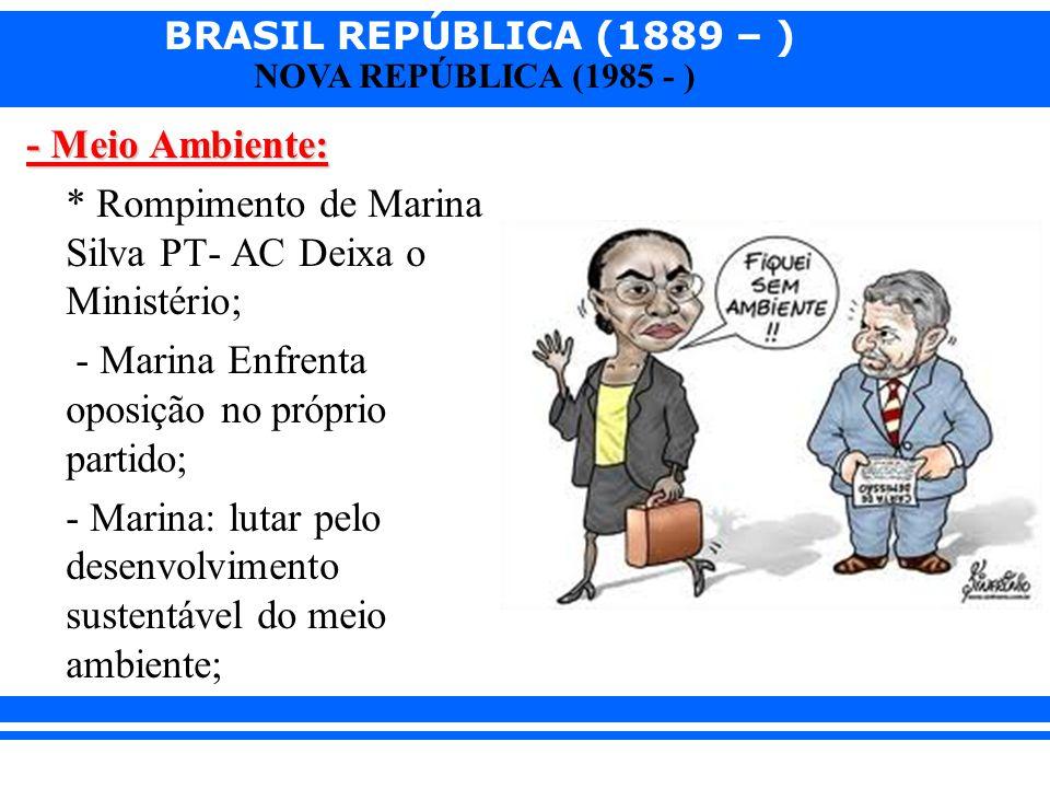 - Meio Ambiente: * Rompimento de Marina Silva PT- AC Deixa o Ministério; - Marina Enfrenta oposição no próprio partido; - Marina: lutar pelo desenvolvimento sustentável do meio ambiente;