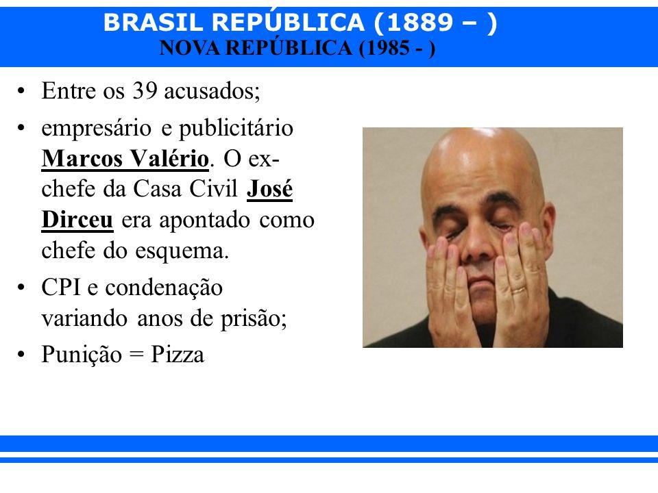 Entre os 39 acusados; empresário e publicitário Marcos Valério. O ex-chefe da Casa Civil José Dirceu era apontado como chefe do esquema.