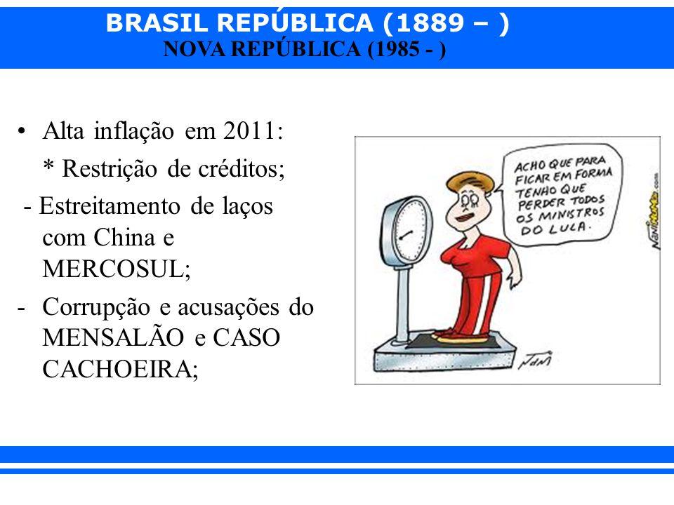 Alta inflação em 2011: * Restrição de créditos; - Estreitamento de laços com China e MERCOSUL; Corrupção e acusações do MENSALÃO e CASO CACHOEIRA;