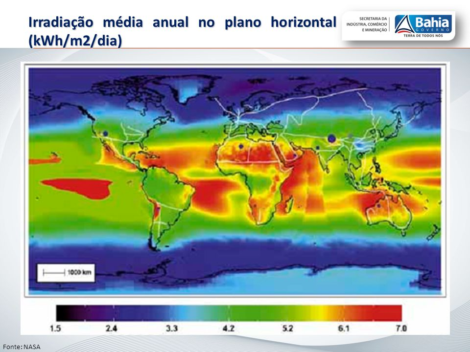 Irradiação média anual no plano horizontal (kWh/m2/dia)