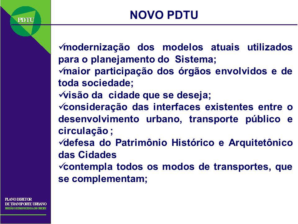 NOVO PDTU modernização dos modelos atuais utilizados para o planejamento do Sistema; maior participação dos órgãos envolvidos e de toda sociedade;