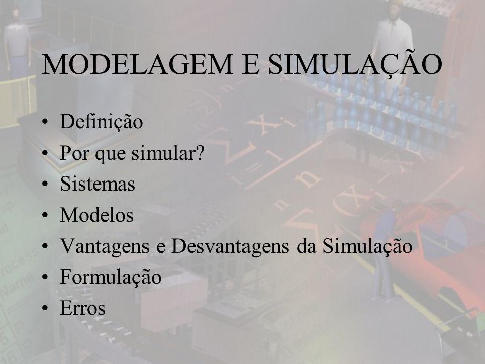 MODELAGEM E SIMULAÇÃO Definição Por que simular Sistemas Modelos
