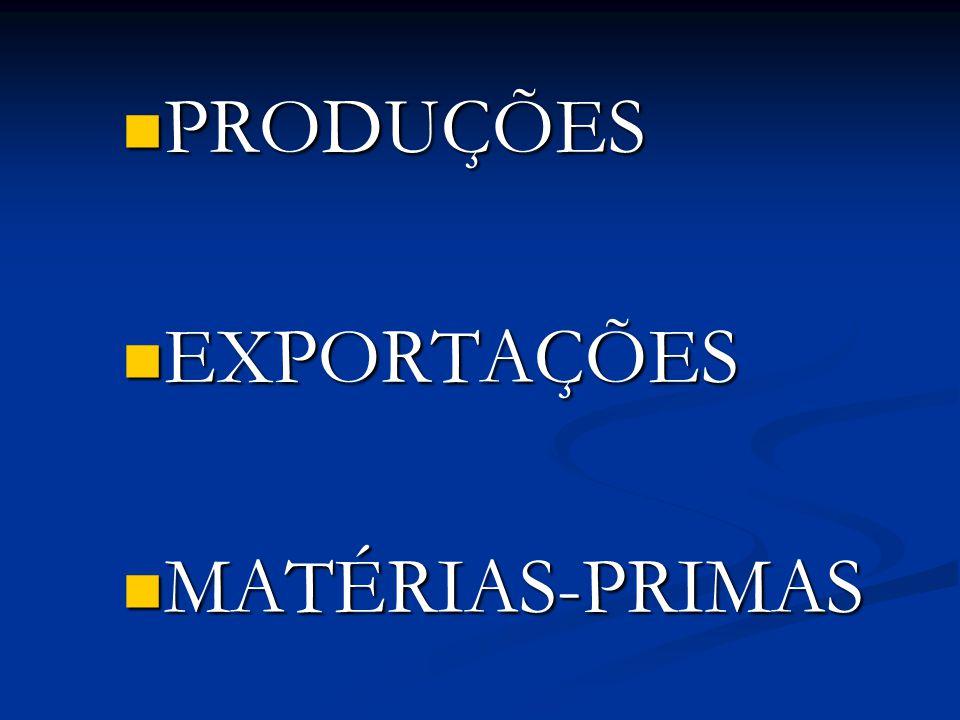 PRODUÇÕES EXPORTAÇÕES MATÉRIAS-PRIMAS