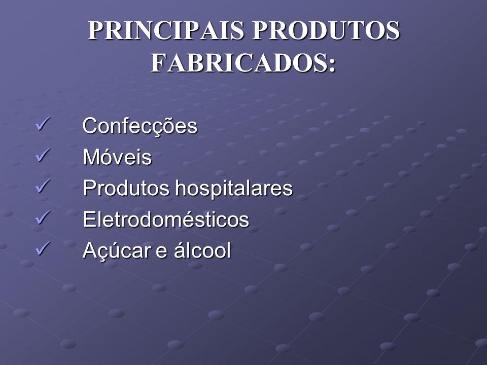 PRINCIPAIS PRODUTOS FABRICADOS: